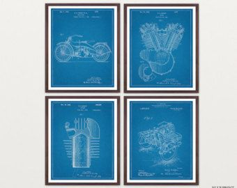 Harley Davidson Poster  Set of 4 Prints  Harley Poster