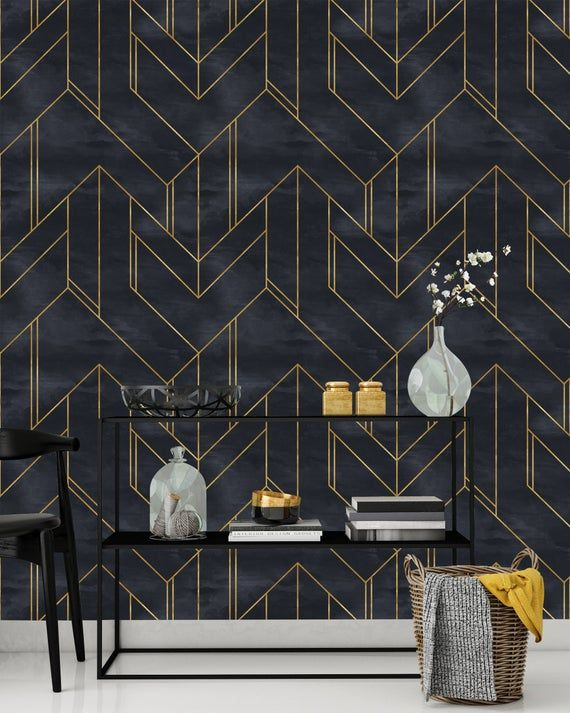 Removable Wallpaper Gold And Navy Blue Geometric Peel Stick Nursery Decor Self Minimalistic Adhesive Wallpaper Art Deco Background In 2021 Removable Wallpaper Navy Wallpaper Home Decor