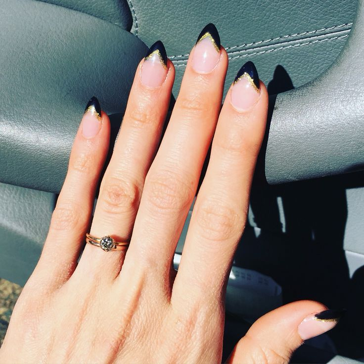 stiletto nails with black amp gold french tips black gold