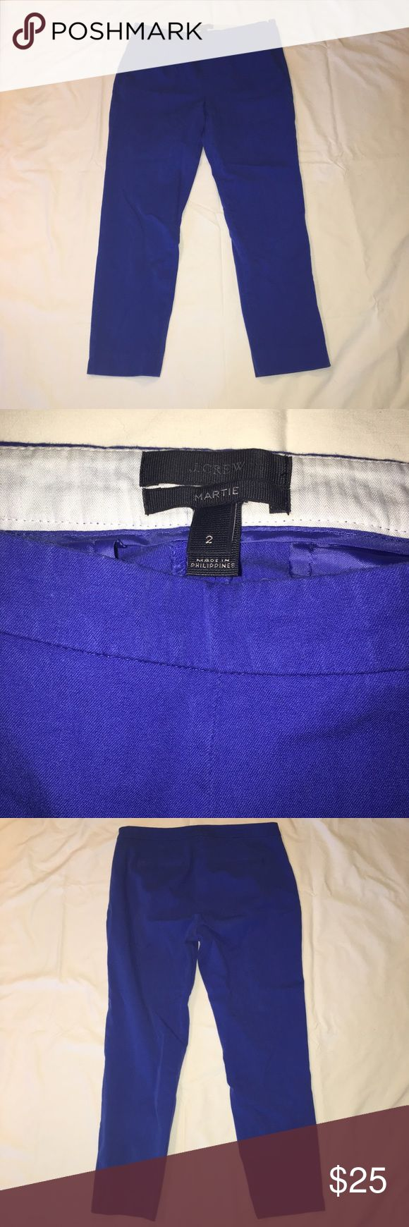 J. Crew Martie Pants Adorable royal blue J. Crew Martie pants - perfect for all of you girl bosses out there! Rock these in the office this spring and you'll be sure to make a great impression. Gently used and comes from a smoke-free home! J. Crew Pants Ankle & Cropped