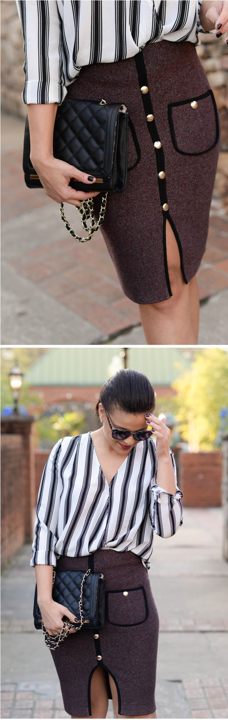 Studded Pockets Knitted Pencil Skirt featured by Fashionably Lo Blog