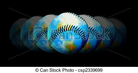 Stock Illustration - Baseball - Central Topic Of The World - stock illustration, royalty free illustrations, stock clip art icon, stock clipart icons, logo, line art, pictures, graphic, graphics, drawing, drawings, artwork