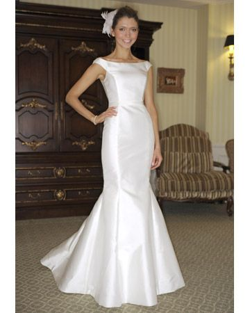 "Victoria Nicole Wedding Dress    ""Light ivory Mikado, trumpet skirt with bateau neckline and bias band at waist"""