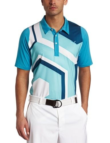 Puma Men's Golf Duo Swing Geoprint Polo, Vivid Blue, Medium by PUMA. $68.00. When you have $10 and your reputation among friends riding on the back nine, the last thing you want to do is lose your cool. So don't. The Duo-Swing Geo Print Polo has a burnout back mesh panel for ventilation, a PURE by HeiQ finish, and engineered sleeves to keep your follow through smooth. Not to mention a UV protected fabric with UPF 50+. It's also constructed with COOLMAX All Season Fabr...