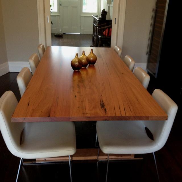 custom made blackbutt solid timber table via bespoke furniture