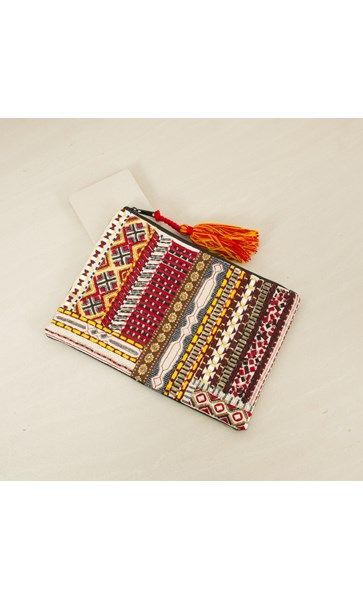 Tassel and Pom Pom Embroidered Zip Top Clutch