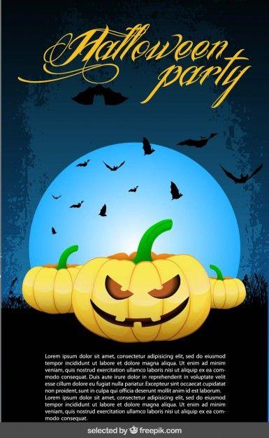 Хэллоуин плакат с летучих мышей и тыквы Бесплатный векторный