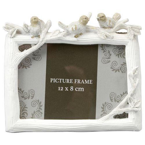 fotolijst vogels+glitter 12x8cm white