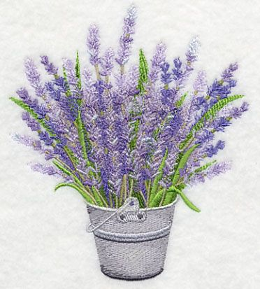 French Lavender in Pail. 	Lovely lavender, arranged in a metal pail. This design is a stunning addition to totes, pillows, and linens.