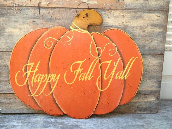 Wooden Orange and Yellow Happy Fall Yall Pumpkin Door Hanger Autumn Decor Sign on Etsy, $10.00