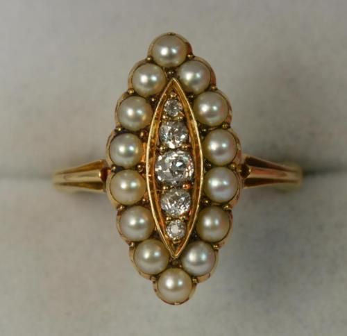Prestine-18ct-Gold-Old-Cut-Diamond-and-Pearl-Marquise-Cluster-Ring-d0620