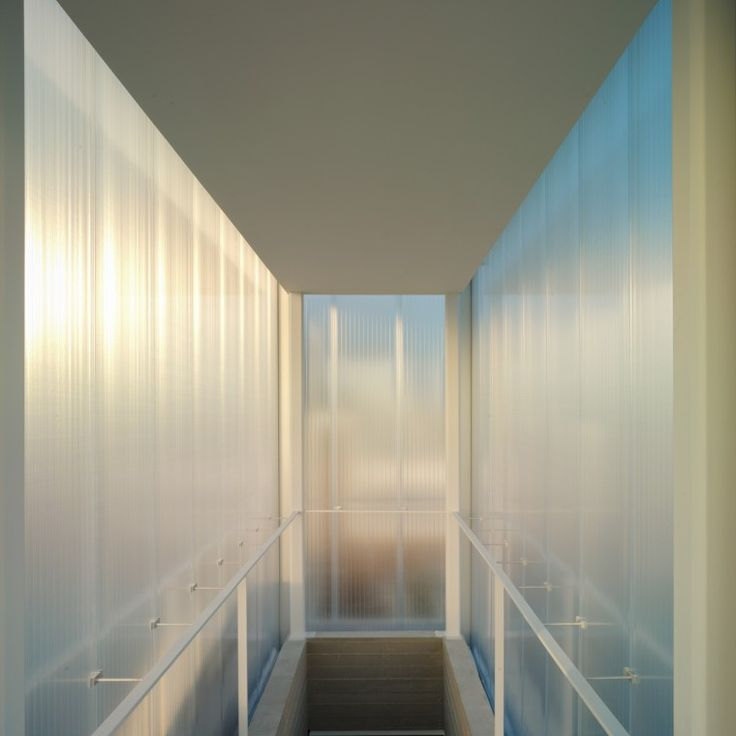 The stairwell to the roof is housed in a polycarbonate box. -Wmag