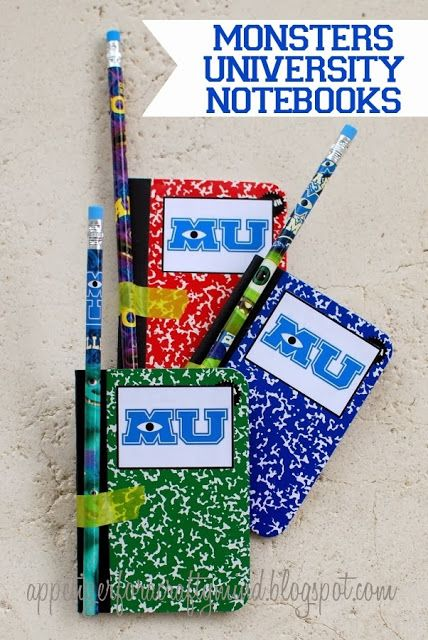 DIY Monsters University Notebooks with free MU Logo Printable. Great for party favors. #MonstersUniversity #MonstersU