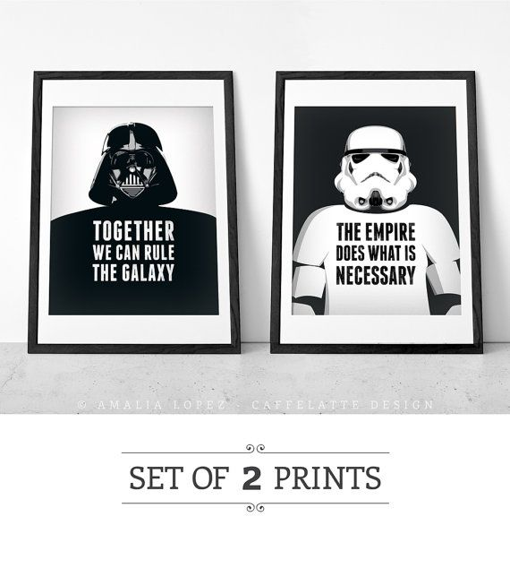 Movie Quotes Star Wars: Set Of 2 Prints. Star Wars Print. Star Wars Poster. Movie
