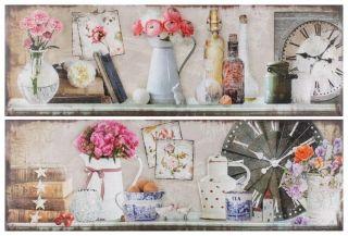 """Set de două tablouri """"Vintage Corner"""" - un set de două tablouri-decoraţiuni imprimate pe pânză, zugrăvind un raft înveselit cu flori. http://www.retroboutique.ro/tablouri/tablouri-de-a-gata/set-de-doua-tablouri-vintage-corner-929"""