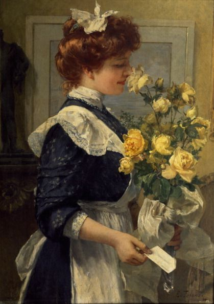 Ch 42.1 'the parlour door opened to admit Sally, carrying a huge bunch of roses.' This pic - Edoardo Tofano (1838-1920) Rose Gift