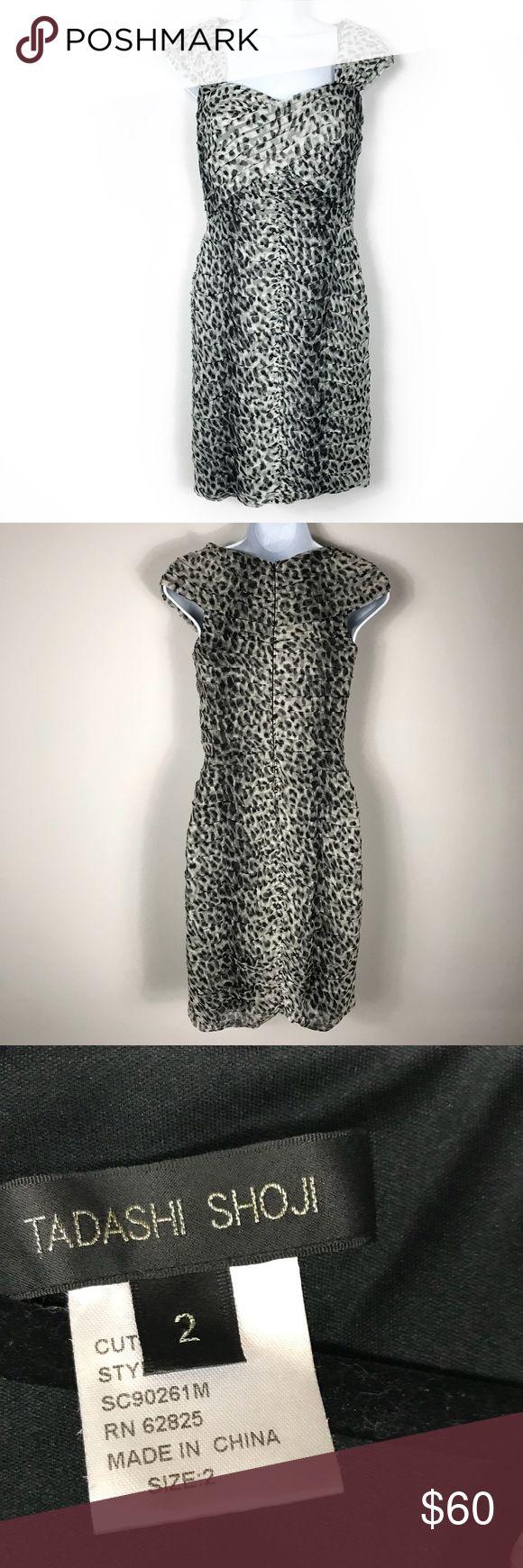 "Tadashi shoji silk Pleated leopard dress Tadashi shoji silk Pleated leopard dress size 2. Super slimming and sexy. Measures approx 15.5""Bust 13.5""Waist 17"" hip 34.5"" long. Dry cleaned and ready to wear Tadashi Shoji Dresses"