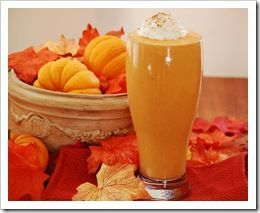Pumpkin Pie Shake! 1 cup plain or vanilla yogurt 1 cup pumpkin puree 1 tsp pumpkin pie spice1/2 tsp vanilla 1 TBL brown sugar (or other sweetener) 7 - 10 Ice cubes Blend all ingredients in a blender and blend until smooth!