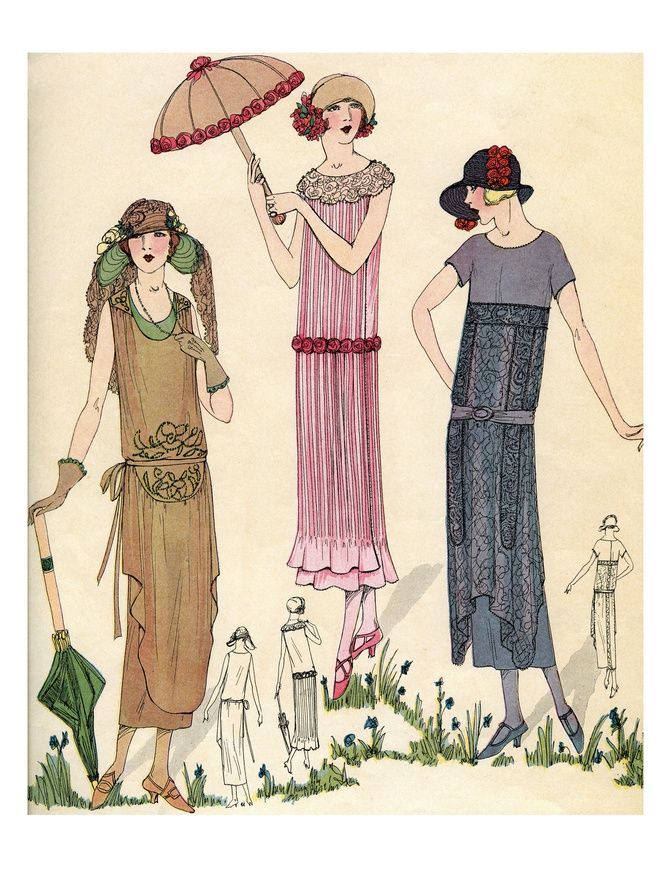 Illustration of Women in 1920s Fashion