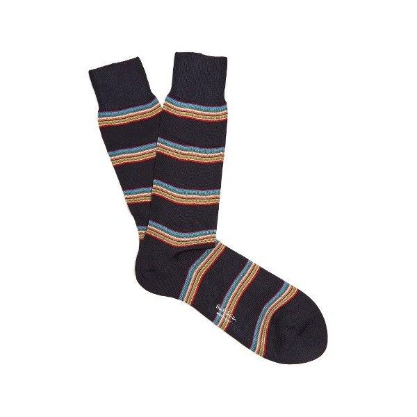 Paul Smith Striped cotton-blend socks ($30) ❤ liked on Polyvore featuring men's fashion, men's clothing, men's socks, navy multi, mens animal print socks, colorful mens socks, mens navy blue socks, mens navy socks and mens patterned socks