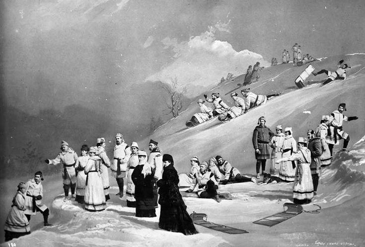 «La partie de toboggan», Rideau Hall. Photographie multiple provenant de l'album personnel de LadyDufferin. Vers 1872-1875.   William James Topley / Bibliothèque et Archives Canada / PA-008492.