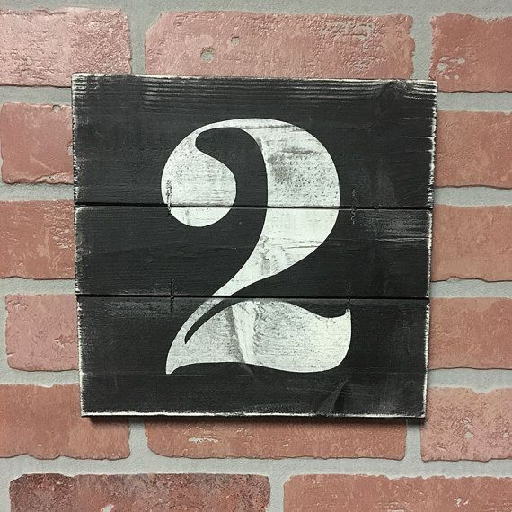 NUMBER WALL ART Rustic house numbers Subway by ElevenOwlsStudio