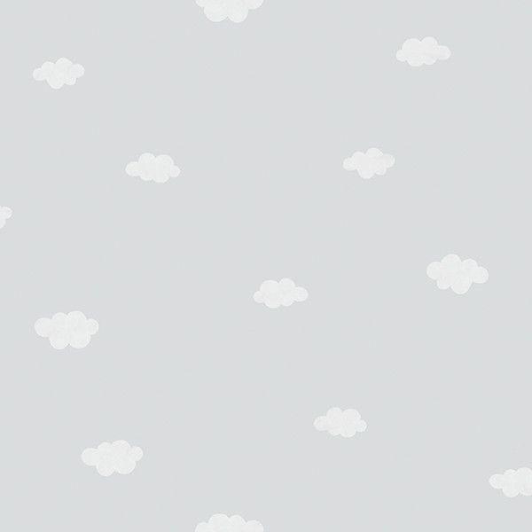 Papel pintado infantil nubes gris