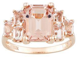 Cor-de-rosa Morganite 4.00ctw Emerald Cut 10k Rose Gold Ring