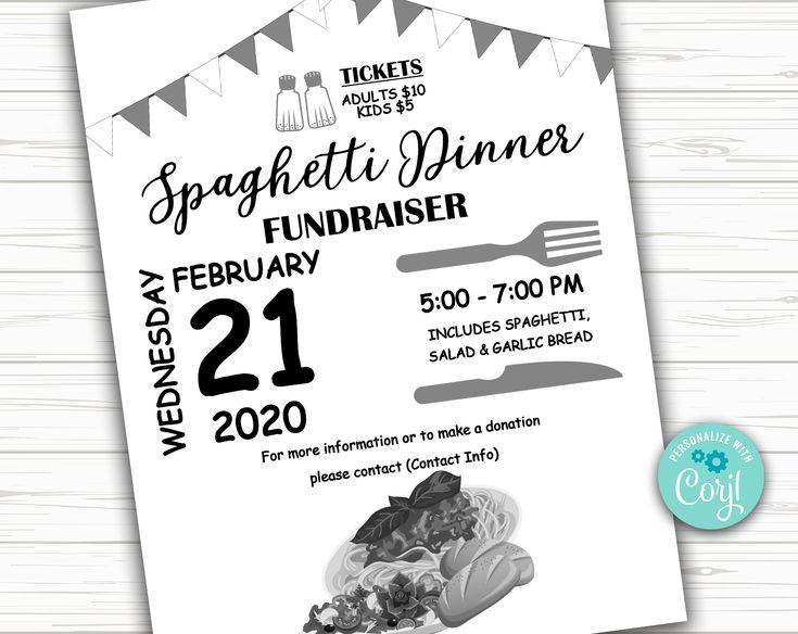 Editable Spaghetti Dinner Benefit Fundraiser Flyer Poster