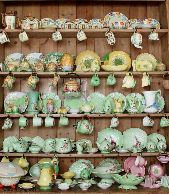 An absolutely inspiringly beautiful collection of vintage (primarily 1930s) china from brands like Carlton Ware - Buttercup, Apple Blossom and Foxglove. Royal Winton Beehive. James Kent Poppy and Annette, Burleigh Ware, and Grindley Poppy.