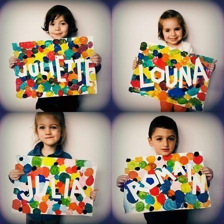 prénom+scotch magique+confettis peinture (ronds au doigt)