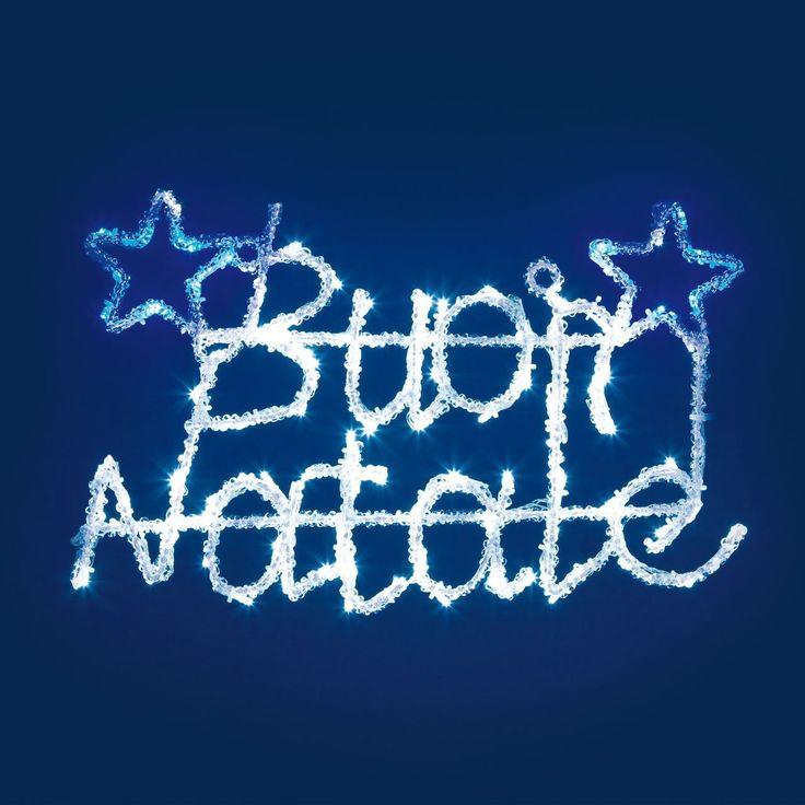 Justmoment SCRITT ABUON NATALE LUMINOSA BIANCA E BLU CON EFFETTO FLASHLED 52*33 CM DECORAZIONI NATALIZIE