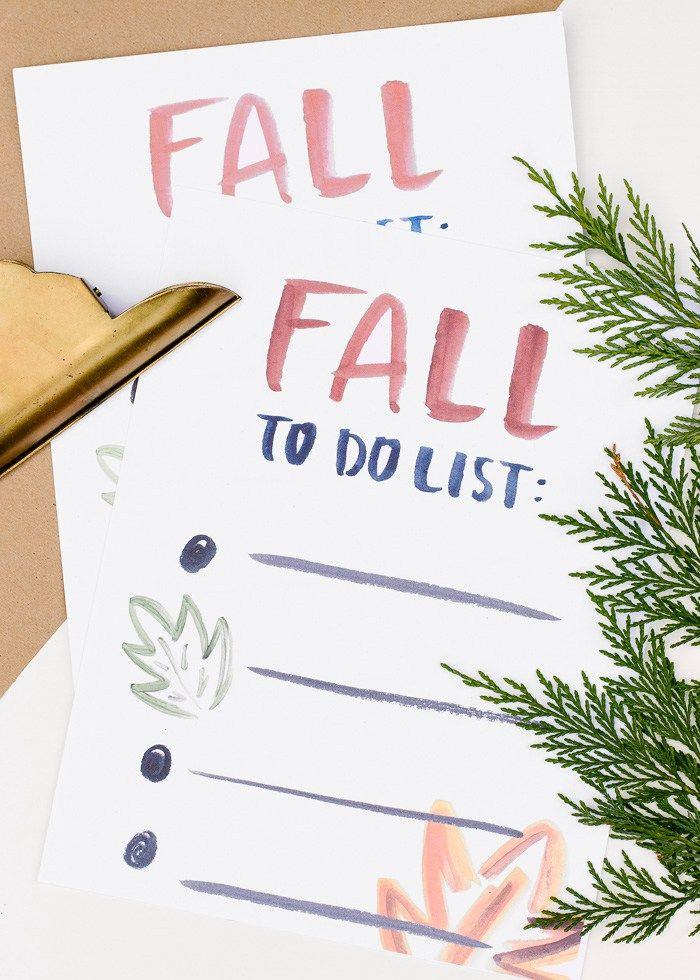Fall To Do List Free Printable
