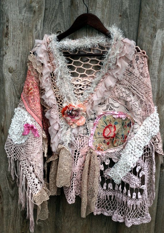 la boheme bohemian shabby chic shrug from antique handmade laces schnittmuster pinterest. Black Bedroom Furniture Sets. Home Design Ideas
