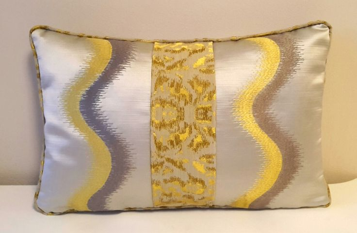 """Excited to share the latest addition to my #etsy shop: Yellow Striped Decorative Pillow, 12x18"""" Cushion Cover, Throw Pillow, Embroidered Pillow, Pillow Case, Piped Pillow, Cushion with Piping #pillow #yellow #striped http://etsy.me/2hPVA1N"""