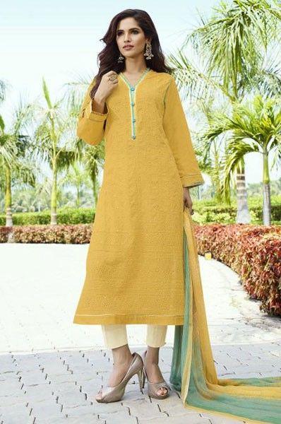 Party Wear Yellow Cotton Mirror Work Salwar Kameez