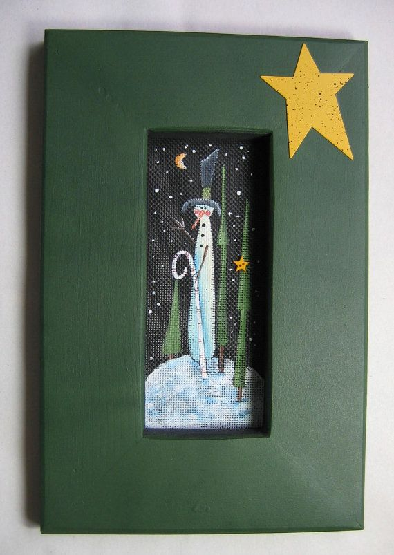 Tole Painted Snowman with Candy Cane Framed by barbsheartstrokes, $17.00