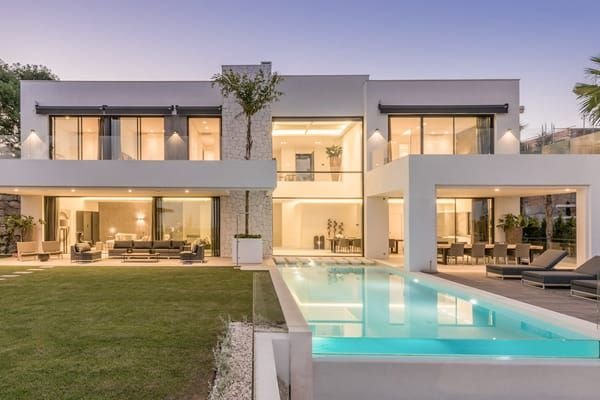 Spectacular 6 Bedroom Contemporary Villa With Amazing Panoramic Views On Golf And Medite In 2020 Modern House Exterior Modern Architecture House House Designs Exterior