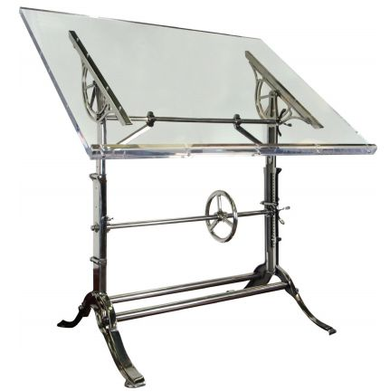 1910 Cast Iron Drafting Table with Acrylic Top | Urban Archaeology