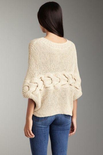 sideways garter + cable knit