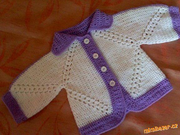 Milé háčkařky, potřebovala jsem svetřík pro miminko, tak jsem se nechala inspirovat návodem, který j...