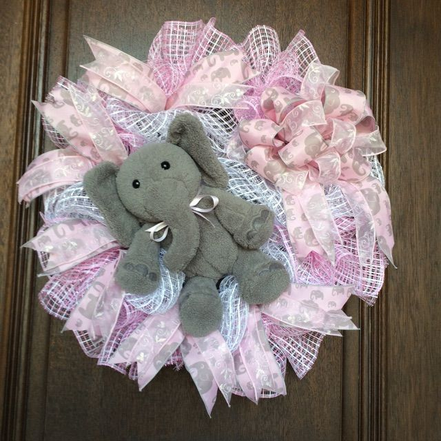 Baby Girl Wreath with Elephant theme in Pink and White Basketweave Mesh, perfect for a Baby Shower