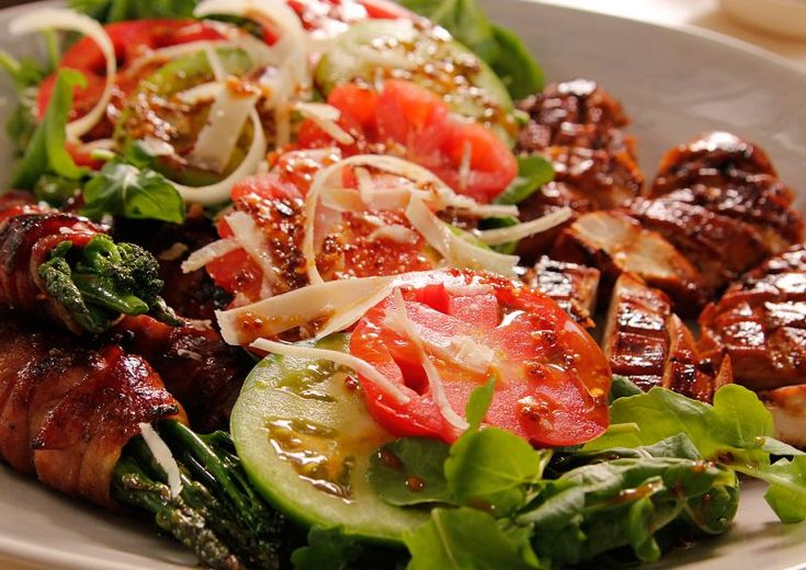 Chicken Salad with Bacon wrapped greens.