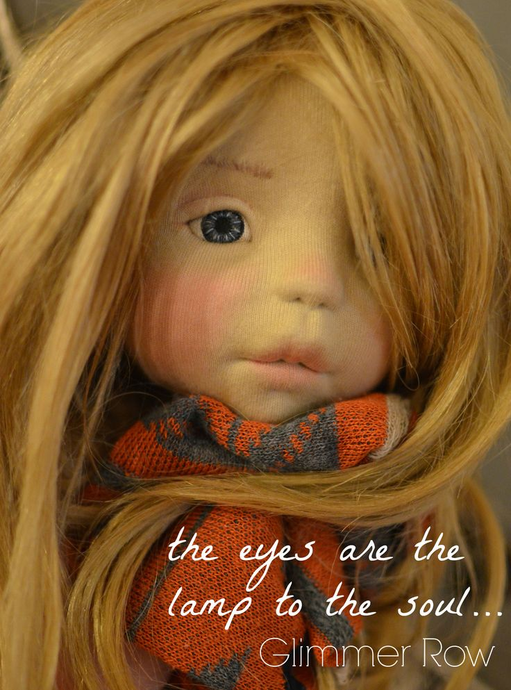 "natural fiber art doll by Glimmer Row. ""The eyes are the lamp to the soul"""