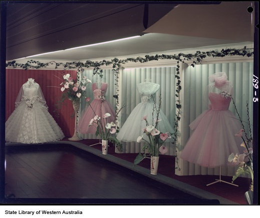 Marjorie Caris Boutique evening gowns, 92 Barrack Street Perth, display of bridal and evening gowns, 1958.