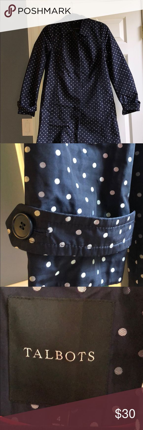Talbots rain coat Navy blue and silver polka dot rain coat with full lining.  Button closure. Size 4. Falls to knees on average height woman. Perfect for wearing over business suits or casually with jeans. Talbots Jackets & Coats Trench Coats