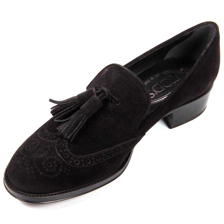 Mocassins à glands en cuir et velours de cuir Tod's, cliquez sur l'image pour shopper #bazarchic #mocassins #cuir #velours #leather #shoes #tods