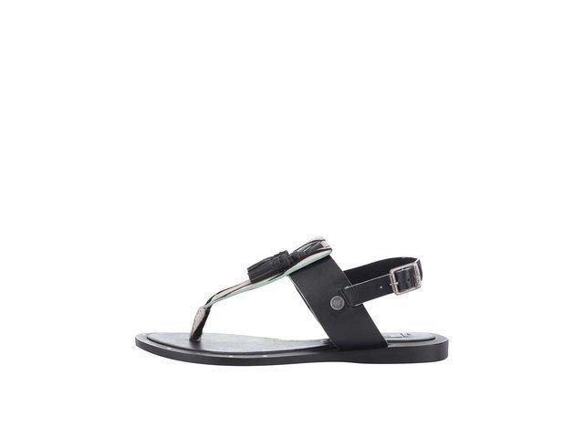 Černé dámské kožené sandálky se vzorem Pepe Jeans -