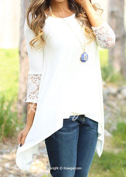 Encaje de cuello redondo con Encanto Mujeres manga irregular dobladillo largas de la blusa blanca