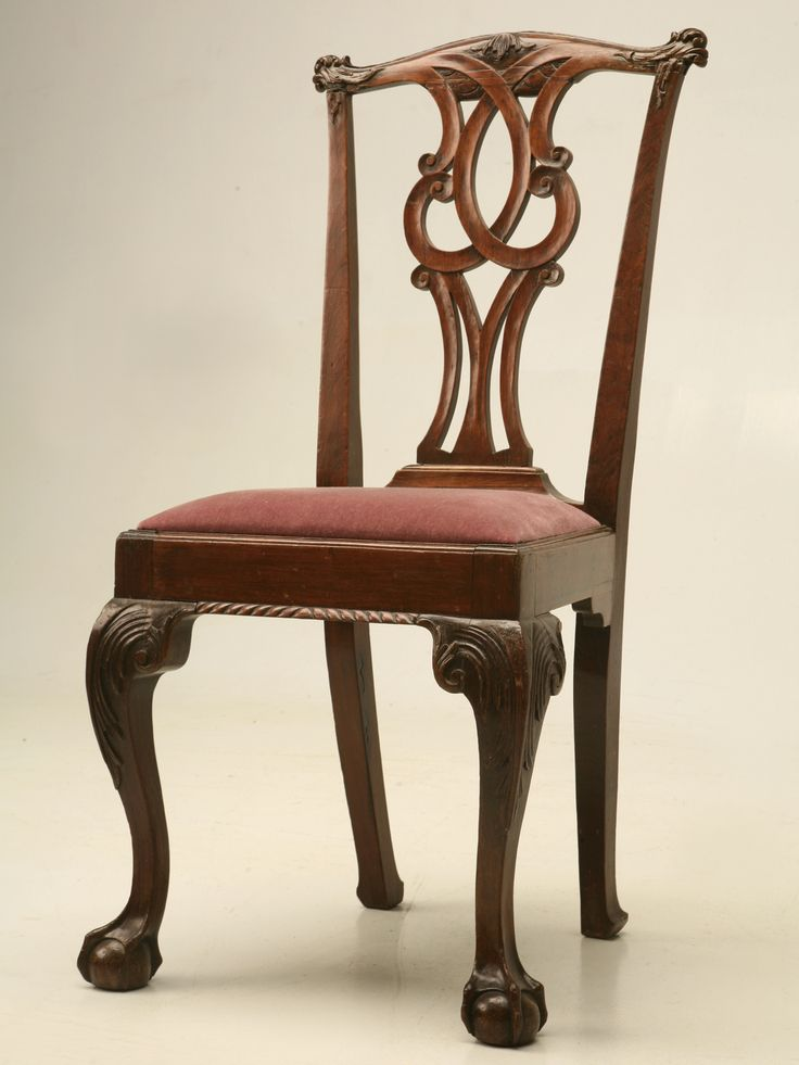 Antique Irish Walnut Chippendale Side Chair